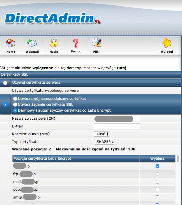 Direct Admin SSL