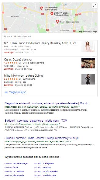 sukienki damskie - wyniki SERP