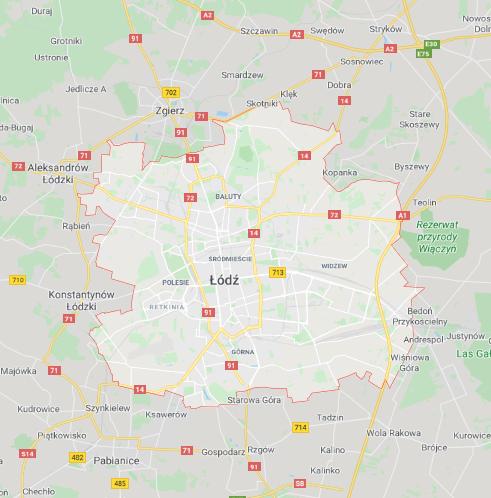 Łódź - mapa