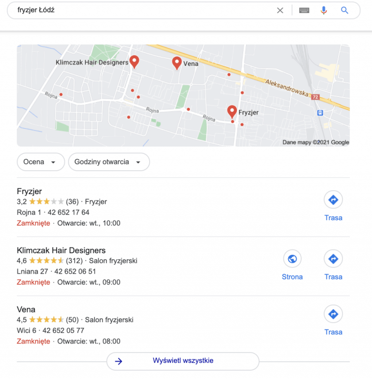 fryzjer łódź - lokalne wyniki wyszukiwania