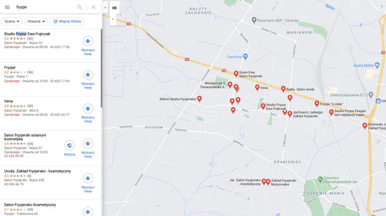 fryzjerzy w Łodzi - wyniki lokalne map Google