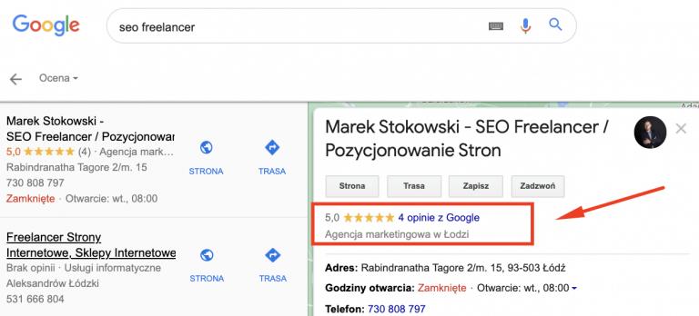 wizytówka Google a opinie